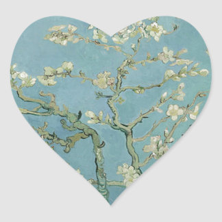 Vincent Van Gogh Almond Blossom Floral Painting Heart Sticker