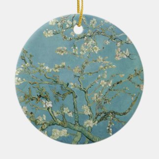 Vincent Van Gogh Almond Blossom Floral Painting Round Ceramic Decoration