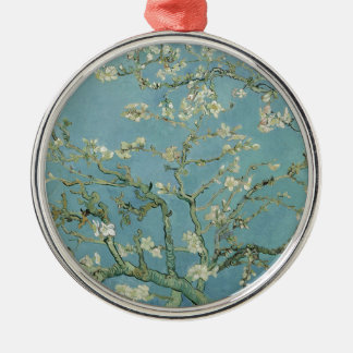 Vincent Van Gogh Almond Blossom Floral Painting Silver-Colored Round Decoration