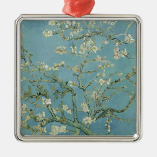 Vincent Van Gogh Almond Blossom Floral Painting Silver-Colored Square Decoration