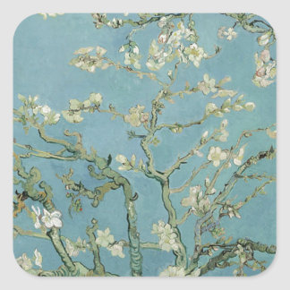 Vincent Van Gogh Almond Blossom Floral Painting Square Sticker