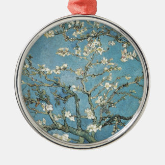 Vincent van Gogh | Almond branches in bloom, 1890 Silver-Colored Round Decoration