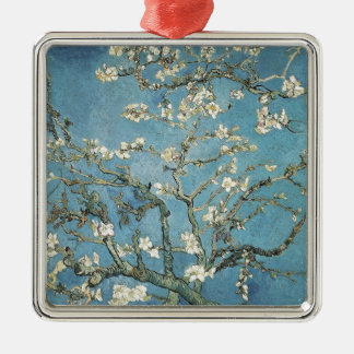 Vincent van Gogh | Almond branches in bloom, 1890 Silver-Colored Square Decoration
