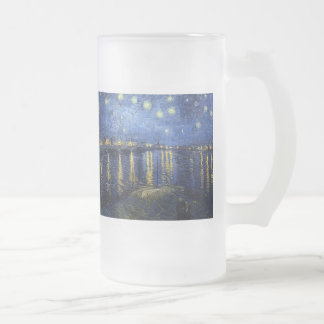 Vincent Van Gogh and Starry Night Over the Rhone Frosted Glass Mug