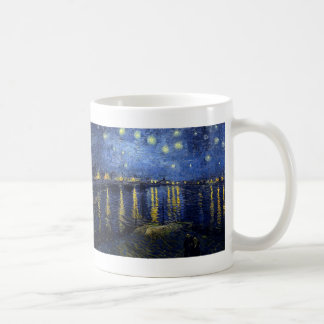 Vincent Van Gogh and Starry Night Over the Rhone Basic White Mug