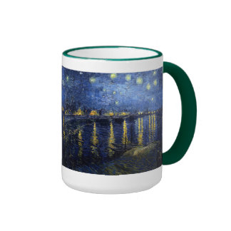 Vincent Van Gogh and Starry Night Over the Rhone Ringer Mug