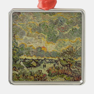 Vincent van Gogh | Autumn landscape, 1890 Silver-Colored Square Decoration