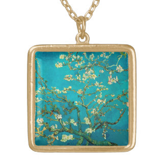 Vincent Van Gogh Blossoming Almond Tree Floral Art Square Pendant Necklace