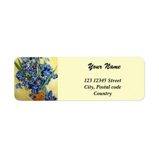 Vincent van Gogh, blue irises in yellow background