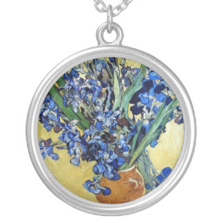 Vincent van Gogh, blue irises in yellow background Silver Plated Necklace