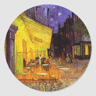 Vincent Van Gogh Cafe Terrace At Night Fine Art Classic Round Sticker