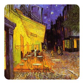 "Vincent Van Gogh Cafe Terrace At Night Fine Art 5.25"" Square Invitation Card"