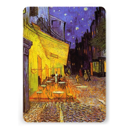 Vincent Van Gogh Cafe Terrace At Night Painting Personalized Invites