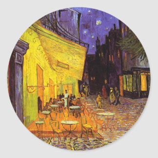 Vincent Van Gogh Cafe Terrace At Night Painting Round Stickers