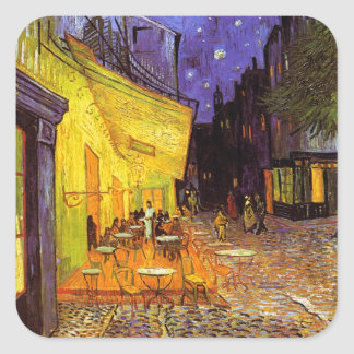 Vincent Van Gogh Cafe Terrace At Night Painting Square Sticker