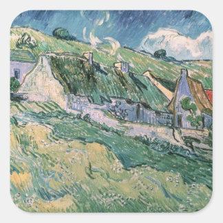 Vincent van Gogh | Cottages at Auvers-sur-Oise Square Sticker
