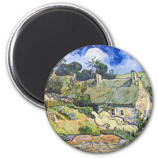Vincent Van Gogh - Cottages with Thatched Roofs 6 Cm Round Magnet