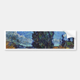 Vincent Van Gogh Country road in Provence by Night Bumper Sticker