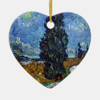 Vincent Van Gogh Country road in Provence by Night Ceramic Heart Decoration
