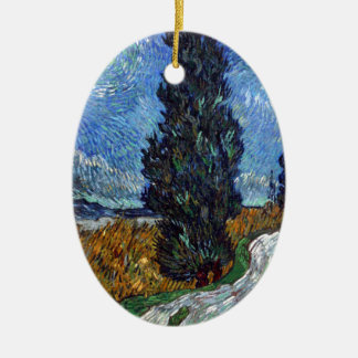 Vincent Van Gogh Country road in Provence by Night Ceramic Oval Decoration