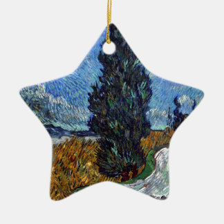 Vincent Van Gogh Country road in Provence by Night Ceramic Star Decoration