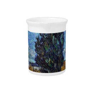Vincent Van Gogh Country road in Provence by Night Drink Pitcher