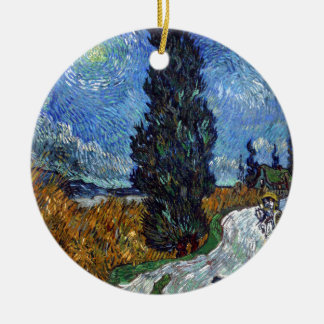 Vincent Van Gogh Country road in Provence by Night Round Ceramic Decoration