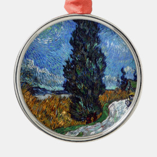 Vincent Van Gogh Country road in Provence by Night Silver-Colored Round Decoration