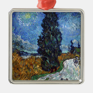 Vincent Van Gogh Country road in Provence by Night Silver-Colored Square Decoration