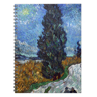 Vincent Van Gogh Country road in Provence by Night Spiral Notebooks