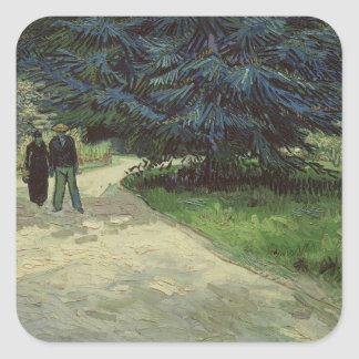 Vincent van Gogh | Couple in the Park, Arles, 1888 Square Sticker