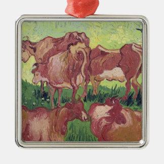 Vincent van Gogh | Cows, 1890 Silver-Colored Square Decoration