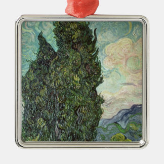 Vincent van Gogh | Cypresses, 1889 Silver-Colored Square Decoration