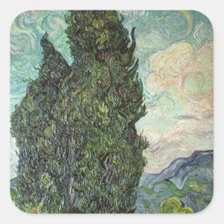 Vincent van Gogh | Cypresses, 1889 Square Sticker