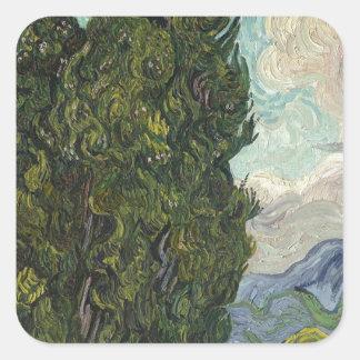 Vincent Van Gogh - Cypresses Painting Square Sticker