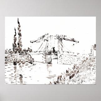 Vincent van Gogh Drawbridge at Arles Drawing Poster
