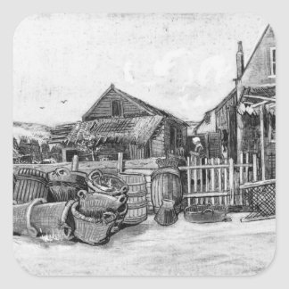 Vincent van Gogh   Fish drying barn, Scheveningen Square Sticker