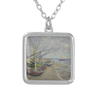 Vincent Van Gogh - Fishing Boats on Saintes Maries Silver Plated Necklace