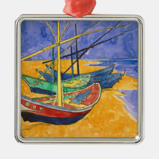 Vincent van Gogh | Fishing Boats on the Beach Silver-Colored Square Decoration