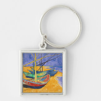 Vincent van Gogh | Fishing Boats on the Beach Silver-Colored Square Key Ring