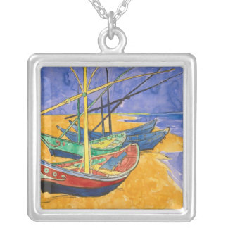 Vincent van Gogh | Fishing Boats on the Beach Silver Plated Necklace