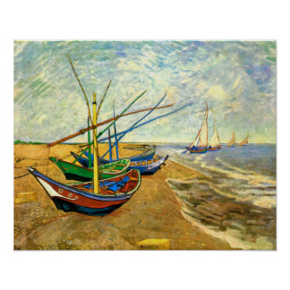 Vincent van Gogh Fishing Boats, Post Impressionism Poster