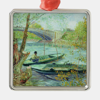 Vincent van Gogh | Fishing in the Spring Silver-Colored Square Decoration