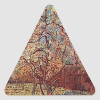 Vincent Van Gogh - Flowering Orchards Painting Triangle Sticker