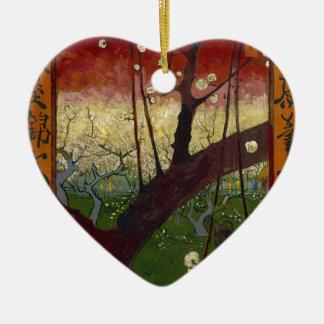 Vincent Van Gogh Flowering Plum Tree Art work Ceramic Heart Decoration