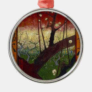 Vincent Van Gogh Flowering Plum Tree Art work Silver-Colored Round Decoration