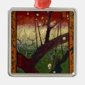 Vincent Van Gogh Flowering Plum Tree Art work Silver-Colored Square Decoration
