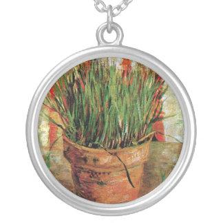 Vincent Van Gogh - Flowerpot With Chives Round Pendant Necklace
