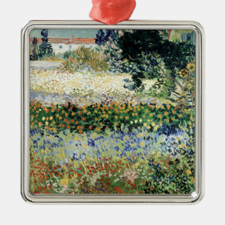 Vincent van Gogh | Garden in Bloom, Arles, 1888 Silver-Colored Square Decoration