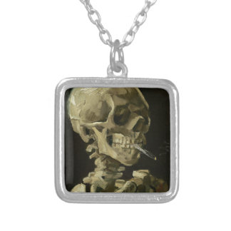 Vincent Van Gogh Head of A Skeleton with Cigarette Silver Plated Necklace